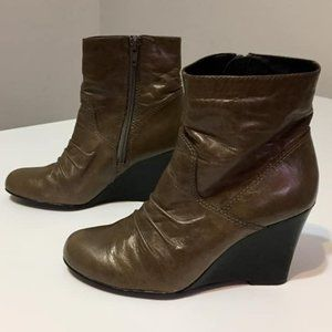 Aldo Tan Leather Wedge Ankle Boots
